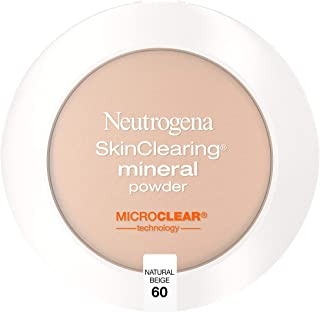Neutrogena SkinClearing Mineral Acne-Concealing Pressed Powder Compact, Shine-Free & Oil-Absorbing Makeup with Salicylic Acid to Cover, Treat & Prevent Breakouts, Natural Beige 60,.38 oz (Pack of 2)