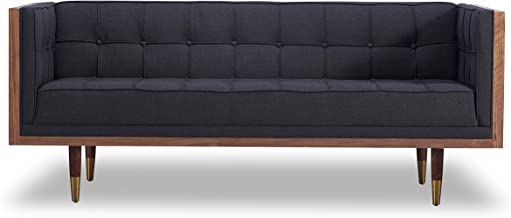 Kardiel Woodrow Midcentury Modern Box Loveseat, Urban Ink Twill/Walnut