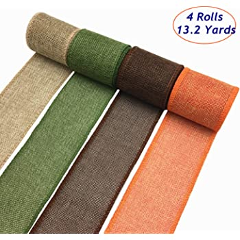 OZXCHIXU Burlap Wired Ribbon Rolls, Wrapping Burlap Ribbon Natural Orange Brown Olive Green Jute, for Christmas Crafts Decoration Wedding Floral Bows Trims Craft 13.2 Yards 2.4 Inch