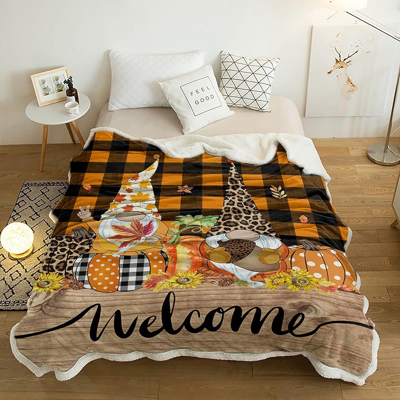 Sherpa Fleece Throw shipfree Blanket Factory outlet Autumn Revers Dwarf Farm and Pumpkin