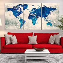 3 Panel Watercolor Vintage Blue Wall Art World Map Push Pin Large Canvas Print - Push Pin World Travel Map for Home and Living Room Decoration - Ready to Hang