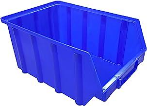 10 stuks stapelboxen blauw maat 4 (222 x 340 x 157 mm) kunststof PP opslagbakken stapelbakken zonder ophangvoorziening