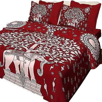 Jaitik Creations Rajasthani Jaipuri Sanganeri Print King Size Double Bedsheet with 2 Pillow Covers JC_0225