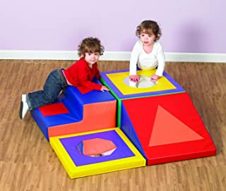 Children's Factory Shape and Play Climber, Foam Blocks for Toddlers, Baby Climbing Toys, Indoor Play Equipment for Homeschool/Classroom- 4 Piece Set