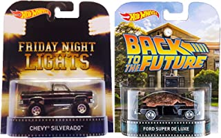 Hot Wheels Back to The Future & Friday Night Lights Truck Car Set Retro Entertainment 2015 Movie Edition Ford & Chevy Models