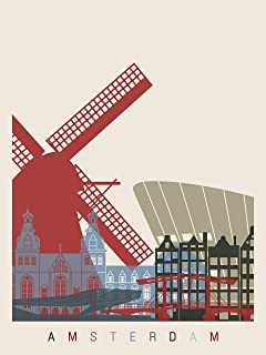 EzPosterPrints - World Famous City Skyline Posters - Travel Poster Printing - Wall Art Print for Home Office Decor - Amsterdam - 18X24 inches