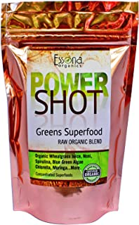 100 % Pure - RAW Organic Vegan - Power Shot Greens Superfood Blend - Spirulina, Chlorella, Wheat Grass, Blue-Green Algae, ...