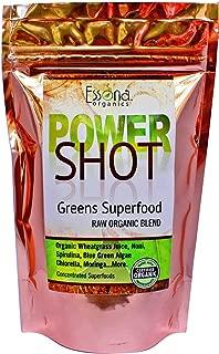 100 % PURE - RAW ORGANIC VEGAN - Power Shot Greens Superfood Blend - Spirulina, Chlorella, Wheat Grass, Blue-Green Algae, Moringa + - 60 SERVINGS from Essona Organics, Powder - 180 gms. Order Today!