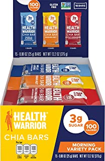Health Warrior Chia Bars, Breakfast Variety Pack, Gluten Free, Vegan, 25g Bars, 15 Count