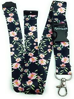 Spirius Cordon tour de cou pour badge d'identification/porte-clés Multicolore Daisies in Black