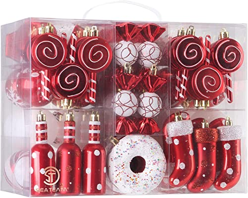 Sea Team 80-Pack Assorted Shatterproof Christmas Ball Ornaments Set Decorative Baubles Pendants with Reusable Hand-he...