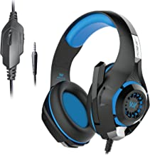 Kotion Each GS410 Headphones with Mic and for PS4 Xbox One Laptop PC iPhone and Android Phones Blue