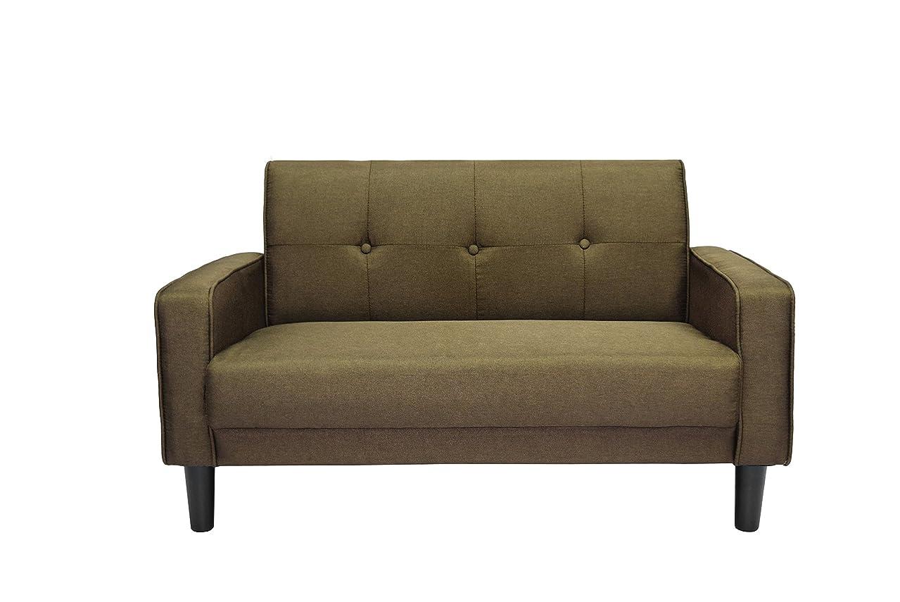 クラシック一人でボーナスOSLEEP ソファー 2人掛け ローソファー sofa 簡単組み立て ぴったりフィット ソファーカバー 肘付き おしゃれ WF037851 (ブラウン)