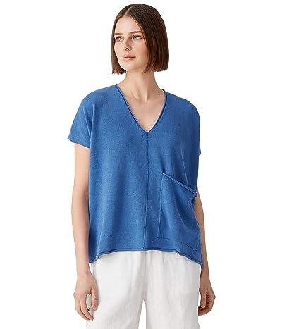 Eileen Fisher V-Neck Sleeveless Box Top in Organic Linen Cotton