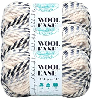 (3 Pack) Lion Brand Yarn 640-609 Wool-Ease Thick and Quick Yarn , 97 Meters, Moonlight