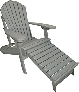 ECCB Outdoor Outer Banks Deluxe Oversized Poly Lumber Folding Adirondack Chair with Integrated Footrest (Driftwood Gray) …