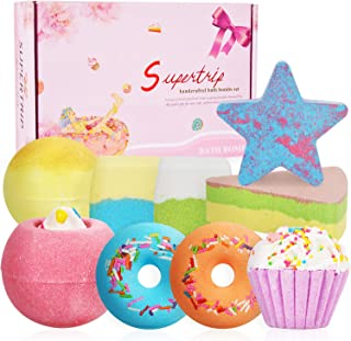 Supertrip Bath Bombs Gift Set - 9 Organic & Natural Handmade Bubble Fizzies Spa bomb,Shea Cocoa Butter Moisturize,Perfect Birthday Valentines Mothers Day Christmas Gift idea for Women or Kids