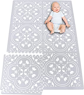 (6 Tiles, Gray & White) - Kid's Premium Stylish Foam Play Mat 6 Tile Set (180cm X 120cm ) Extra Large Floor Tiles Easily Expandable Non-Toxic Spill Resistant Easy to Clean and Maintain Playrooms Baby Nursery