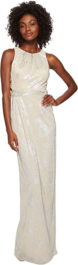 Metallic Foil Long Halter Gown