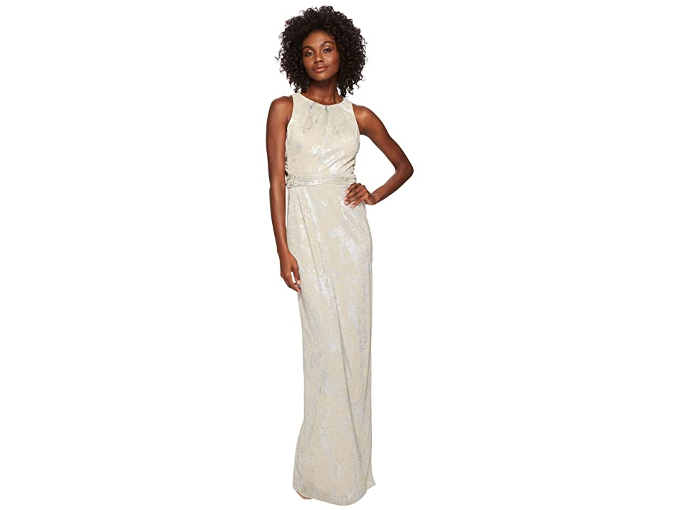 Adrianna Papell Metallic Foil Long Halter Gown (Champagne) Women