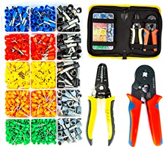 Ferrule Wire Terminal Block Crimping Tool Plier Tool Kit Set with 860 Ferrules, Wire cutter, Storage Bag, UL Color AWG Guidelines, Industry Standard Coded Ferrules