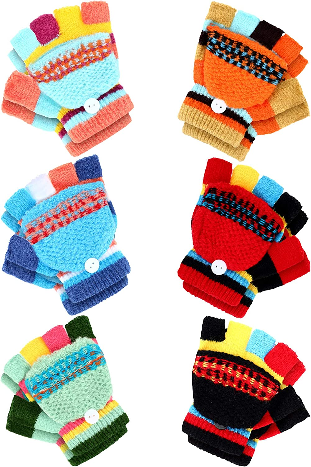 6 Pairs Convertible Fingerless Glove Knitted Half Finger Mitten with Cover for Kids