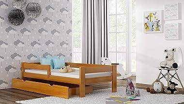 Children's Beds Home Lit Simple en Bois de Pin Massif - Saule avec Mousse - Matelas en Noix de Coco sans Tiroirs Inclus (