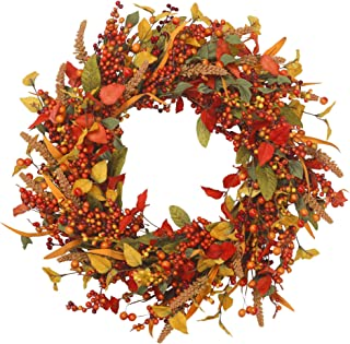 VGIA 22 inch Artificial Fall Wreath Door Wreath Autumn Wreath Berry Wreath Fall Decorations