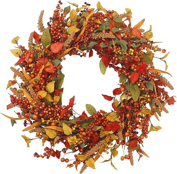 VGIA 22 Inch Artificial Fall Wreath Door Wreath Autumn Wreath Berry Wreath Fall Decorations
