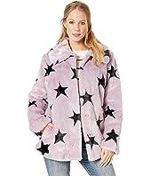 Star-Patterned Faux Fur Swing Coat