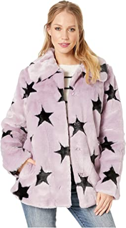 Star-Patterned Faux Fur Swing Coat