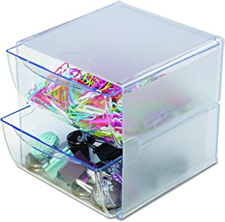 """Deflecto Stackable Cube Organizer, Desk and Craft Organizer, 2 Drawers, Clear, Removable Drawers and Dividers, 6"""" W x 6"""" H..."""