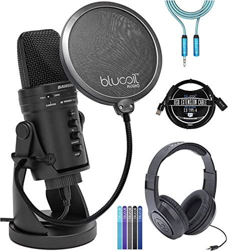 high quality Samson G-Track Pro USB Microphone with Audio Interface Bundle with SR350 Headphones, Blucoil Pop Filter Windscreen, new arrival 3-FT USB 2.0 Type-A Extension Cable, 6' 3.5mm Extension Cable, discount and 5X Cable Ties sale