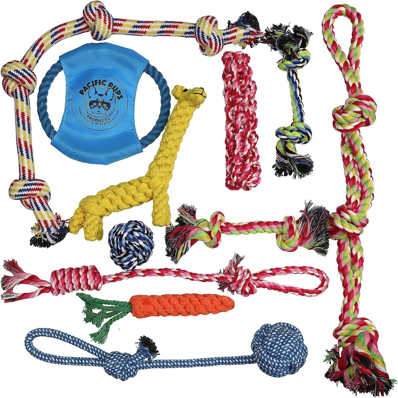Dog Rope Toys for Aggressive Chewers  Set of 11 Nearly Indestructible Dog Toys  Bonus Giraffe Rope Toy  Benefits NONPROFIT Dog Rescue