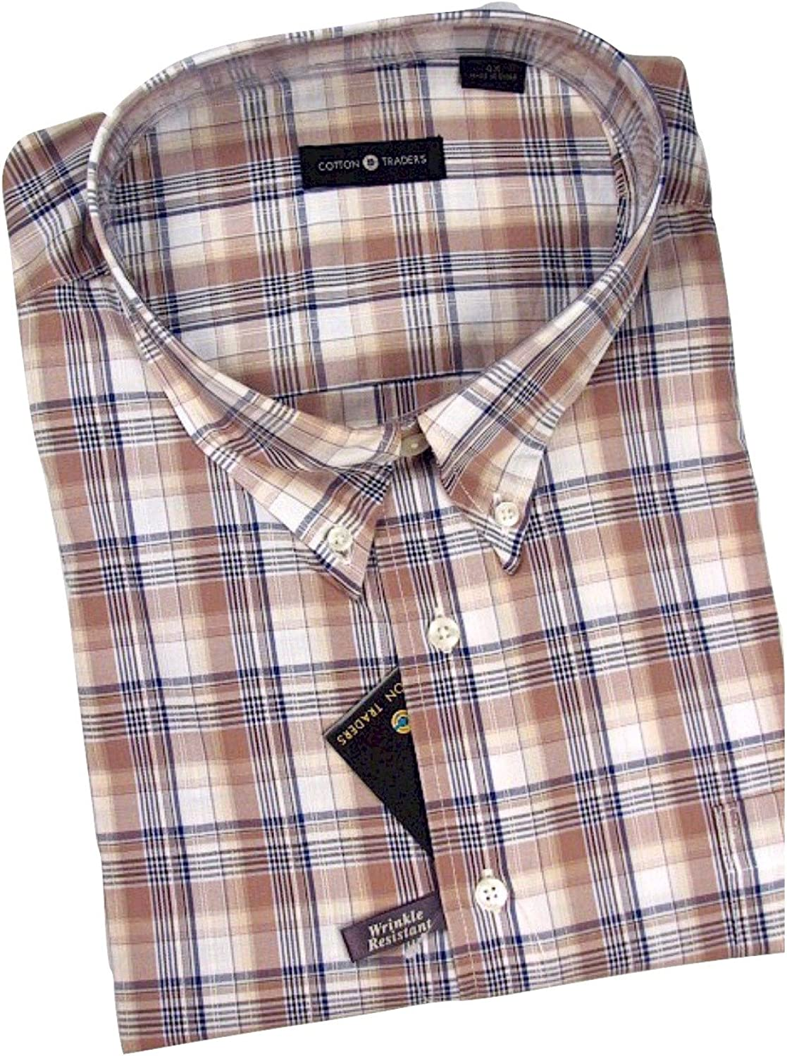 Cotton Traders Big and Tall Mens Short Sleeve Easy Care Cotton Shirts