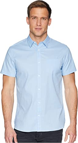 Calvin Klein Short Sleeve Set On Placket Tonal Seersucker Button Down