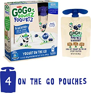 GoGo squeeZ YogurtZ, Blueberry, 3 Ounce (4 Count), Low Fat Yogurt, Gluten Free, Healthy Snacks, Recloseable, BPA Free Pouches