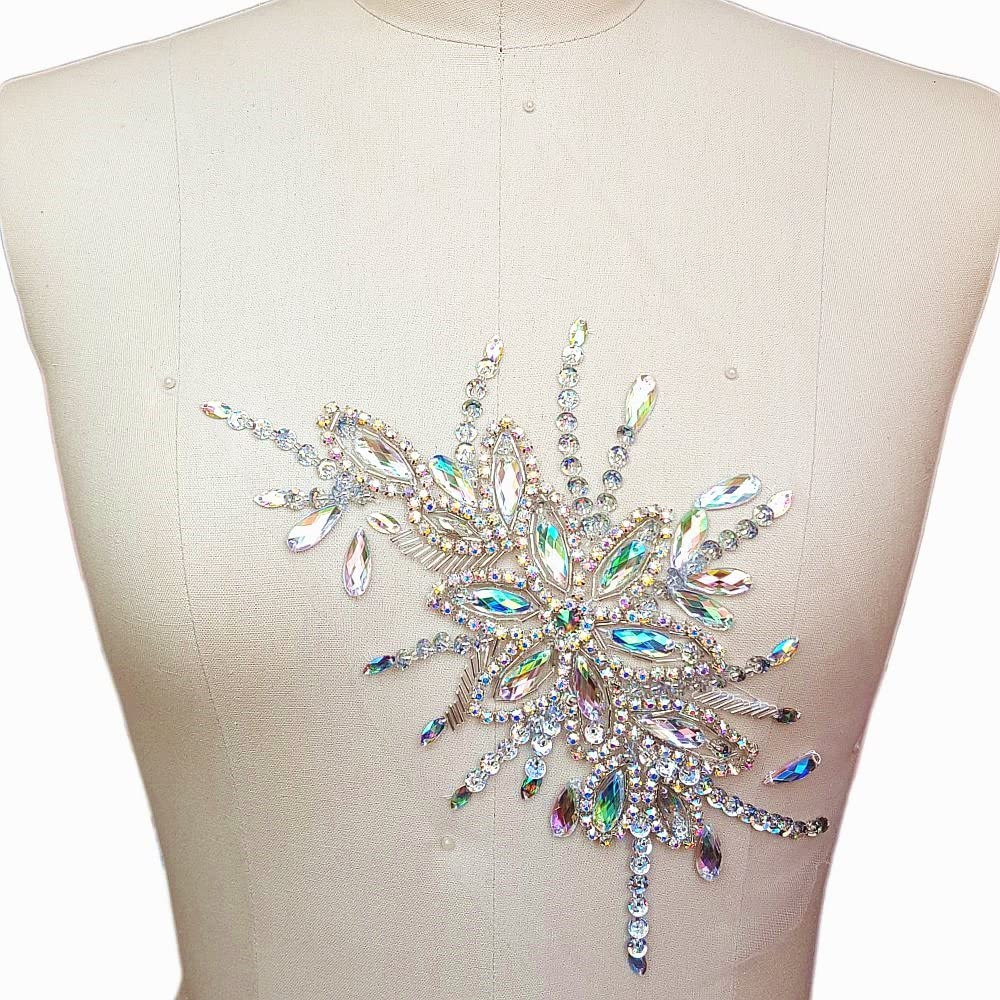 AB Exquisite Uniquely Pure Handmade AB Colour Bright Crystal Patches Sew-on Rhinestones Applique with Stones Sequins Beads for Wedding Dress DIY Manual Accessories Belt Chest Waist Decoration