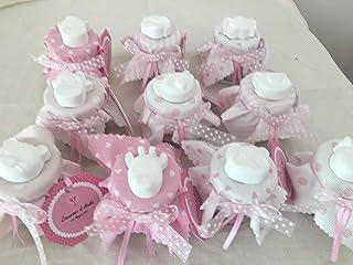 Vasetto bomboniera o segnaposto per battesimo comunione cresima compleanno con gessetti profumati completo di confetti.