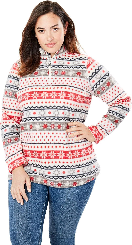 Woman Within Women's Plus Size Microfleece Quarter-Zip Pullover Jacket