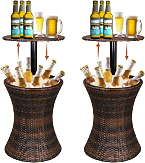 Super Deal 3in1 Cool Wicker Bar Table + Cooler + Cocktail Coffee Table All in One, Rattan Style Adjustable Height Patio Party Deck Pool Use, Brown (Set of 2)