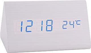 Konigswerk New Triangular Sound Control USB/AAA Battery Powered Wooden LED Alarm Digital Desk Clock Despertador with Thermometer Calendar Auto Brightness Adjustment (White-Blue) AC014G