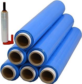 6 x Palettenfolie Handfolie Wickelfolie Stretchfolie 50cm 1,5kg 23my Blau  Abroller