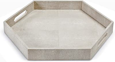 """Regina Andrew Shagreen Hex 2-1/2"""" High White/Natural Ivory Grey Serving Decorative Tray"""