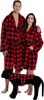 Matching Velour Lounge Robes for Family Couples Dog and Owner Buffalo Plaid