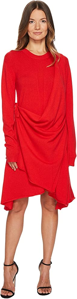 Runway Cashmere Long Sleeve Drape Front Dress