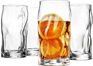 Bormioli Rocco SORGENTE Hohe Trinkgläser 440 ml Highball-Glas Set von 4 Mojito-Glas, hergestellt in Italien für Wasser, Saft, Bier, Getränke, Cocktails, bleifreie Pint-Gläser