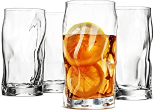 Bormioli Rocco SORGENTE Tall Drinking Glasses 15.5 Ounce Highball Glass (Set of 4) Mojito glass, Italian Made Bar Glasses, Glass Cups for Water, Juice, Beer, Drinks, Cocktails, Lead-Free Pint Glasses.