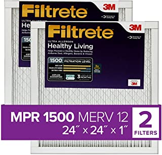Best Filtrete 24x24x1, AC Furnace Air Filter, MPR 1500, Healthy Living Ultra Allergen, 2-Pack (exact dimensions 23.81 x 23.81 x 0.78) Review