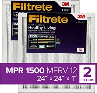 Best Filtrete 24x24x1, AC Furnace Air Filter, MPR 1500, Healthy Living Ultra Allergen, 2-Pack (exact dimensions 23.81 x 23.81 x 0.78) Reviews